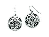 Chisel Stainless Steel Polished/antiqued Circle Dangle Earrings style: SRE755