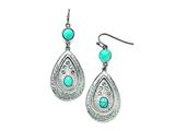 Chisel Stainless Steel Polished/hammered Imitation Turquoise/cz Earrings style: SRE761