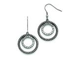 Chisel Stainless Steel Polished And Antiqued Cz Circle Dangle Earrings style: SRE767