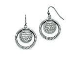 Chisel Stainless Steel Polished Circle Cz Shepherd Hook Earrings style: SRE771