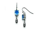 Chisel Stainless Steel Polished And Antiqued Blue Glass Earrings style: SRE776