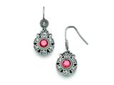 Chisel Stainless Steel Polished Red And Clear CZ Circle Earrings style: SRE777