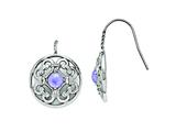 Chisel Stainless Steel Polished Synthetic Purple Calcedony Earrings style: SRE778