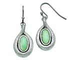 Chisel Stainless Steel Polished And Textured Synthetic Green Calcedony Earrings style: SRE781
