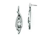 Chisel Stainless Steel Polished And Textured Cz Post Dangle Earrings style: SRE790