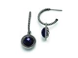 Chisel Stainless Steel Polished And Antiqued Blue Sandstone Reversible Earrings style: SRE792