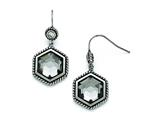 Chisel Stainless Steel Polished/antiqued Glass And CZ Earrings style: SRE793