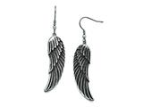 Chisel Stainless Steel Antiqued Shepherd Hook Dangle Wing Earrings style: SRE795