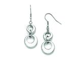 Chisel Stainless Steel Polished Circle Shepherd Hook Dangle Earrings style: SRE796