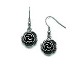 Chisel Stainless Steel Polished Antiqued Shepherd Hook Flower Earrings style: SRE797