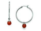 Chisel Stainless Steel Polished Hoop W/red Agate Bead Earrings style: SRE801