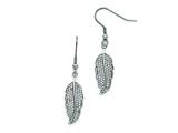Chisel Stainless Steel Polished Leaf With CZs Shepherd Hook Earrings style: SRE804