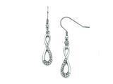 Chisel Stainless Steel Infinity Symbol With CZs Shepherd Hook Earrings style: SRE805