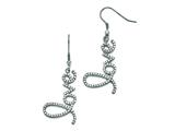 "Chisel Stainless Steel Polished ""love"" With Czs Shepherd Hook Earrings style: SRE806"