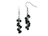 Chisel Stainless Steel Black Agate Polished Shepherd Hook Dangle Earrings style: SRE809