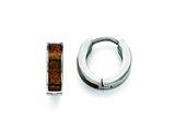 Chisel Stainless Steel Polished Brown/black Enameled Hinged Hoop Earrings style: SRE818