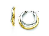 Chisel Stainless Steel Polished Yellow Ip-plated 22mm Hoop Earrings style: SRE821