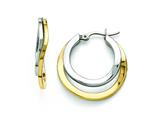 Chisel Stainless Steel Polished Yellow Ip-plated 30mm Hoop Earrings style: SRE822