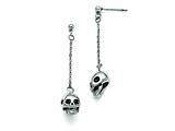 Chisel Stainless Steel Polished/antiqued Skull Post Dangle Earrings style: SRE829