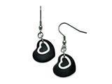 Chisel Stainless Steel Polished Black Ip-plated Moveable Heart Earrings style: SRE832