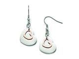 Chisel Stainless Steel Polished Rose Ip-plated Hearts Shepherd Hook Earrings style: SRE833