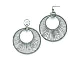 Chisel Stainless Steel Polished Wire Circle Post Dangle Earrings style: SRE834
