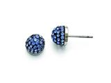 Chisel Stainless Steel Polished Blue Enamel W/crystals Post Earrings style: SRE836