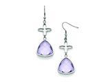 Chisel Stainless Steel Polished Flower Purple Glass Shepherd Hook Earrings style: SRE840