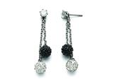 Chisel Stainless Steel Polished Black And White Crystal Post Dangle Earrings style: SRE848