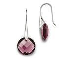 Chisel Stainless Steel Polished Maroon Glass Shepherd Hook Earrings style: SRE851