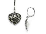 Chisel Stainless Steel Polished/antiqued Marcasite Heart Lever Back Earrings style: SRE857