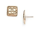 Chisel Stainless Steel Polished And Textured Rose Ip-plated Post Earrings style: SRE860
