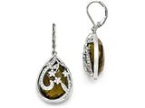 Chisel Stainless Steel Polished Brown Glass And Crystal Lever Back Earrings style: SRE867