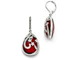 Chisel Stainless Steel Polished Red Glass And Crystal Lever Back Earrings style: SRE868