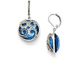 Chisel Stainless Steel Polished Blue Glass And Crystal Lever Back Earrings style: SRE870