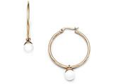 Chisel Stainless Steel Polished Rose Ip-plated White Jade Hoop Earrings style: SRE883