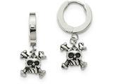Chisel Stainless Steel Polished Black Oxidized Skull Dangle Hinged Hoop Earrings style: SRE893