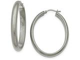 Chisel Stainless Steel Polished Textured Oval Hoop Earrings style: SRE898