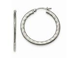Chisel Stainless Steel Polished Textured Hoop Earrings style: SRE899
