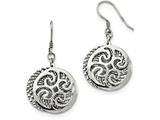 Chisel Stainless Steel Polished Textured Shepherd Hook Dangle Earrings style: SRE900