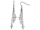 Chisel Stainless Steel Multi Strand Cross Dangle Shepherds Hook Earrings style: SRE908