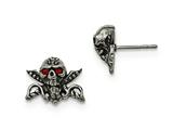 Chisel Stainless Steel Antiqued and Polished W/red Crystal Skull Post Earrings style: SRE912