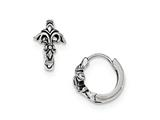 Chisel Stainless Steel Antiqued/polished Fleur De Lis Hinged Hoop Earrings style: SRE915