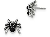 Chisel Stainless Steel Antiqued And Polished W/crystal Spider Post Earrings style: SRE917