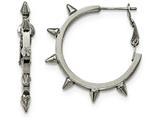 Chisel Stainless Steel Polished Spike Omega Back Hoop Earrings style: SRE932