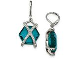 Chisel Stainless Steel Polished W/ Teal Glass And Preciosa Crystal Earrings style: SRE938