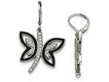Chisel Stainless Steel Enameled W/ Preciosa Crystal Butterfly Earrings style: SRE942