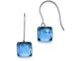 Chisel Stainless Steel Polished Blue Glass Square Shepherd Hook Earrings style: SRE946