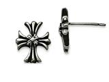 Chisel Stainless Steel Polished And Enamel Cross Post Earrings style: SRE948