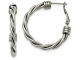 Chisel Stainless Steel Polished Twisted Hoop Earrings style: SRE969